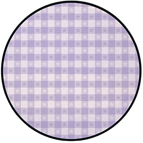 Printing Round Rug,Lavender,Pastel Colored Classic Gingham Check Pattern with Delicate Small Blossoms Decorative Mat Non-Slip Soft Entrance Mat Door Floor Rug Area Rug For Chair Living Room,Lavander W