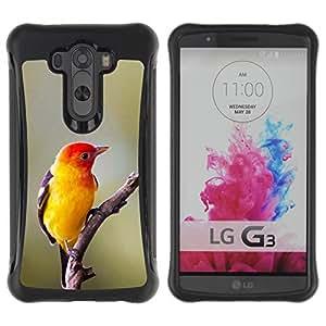 LASTONE PHONE CASE / Suave Silicona Caso Carcasa de Caucho Funda para LG G3 / yellow bird songbird spring nature branch