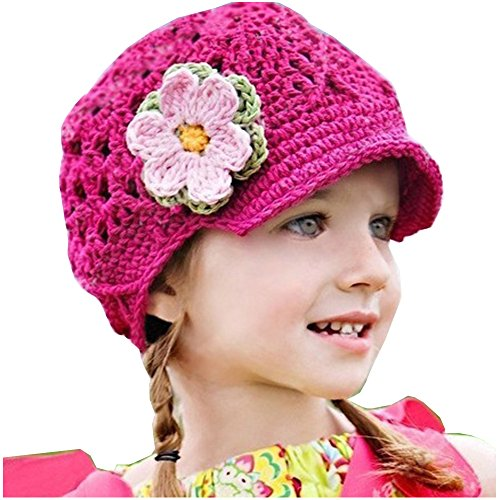 Frogwill Infant Toddler Girl Baby Handmade Knit Crochet Flowers Beanie Hat Cap (M, Rose)