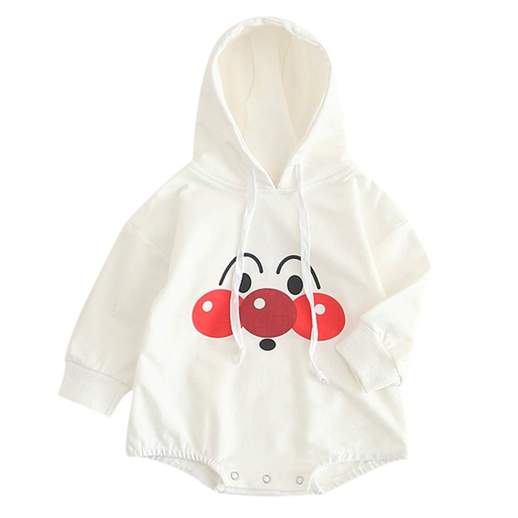 NUWFOR Newborn Baby Boys Girl Outfits Sets Printed Hoodie Cartoon Romper Coat Clothes(White,9-12 Months)