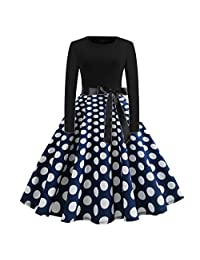FANOUD Women Vintage Christmas Penguin Dot Print O-Neck Party Dress for Women