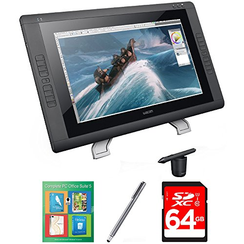 Wacom Cintiq 22HD - 22 '' HD, wide-format Interactive Pen Display with Grip Pen (DTK2200) with Corel Complete PC Office Suite 5, Bamboo Solo Stylus for Tablets and Smartphones & 64GB Memory Card by Wacom