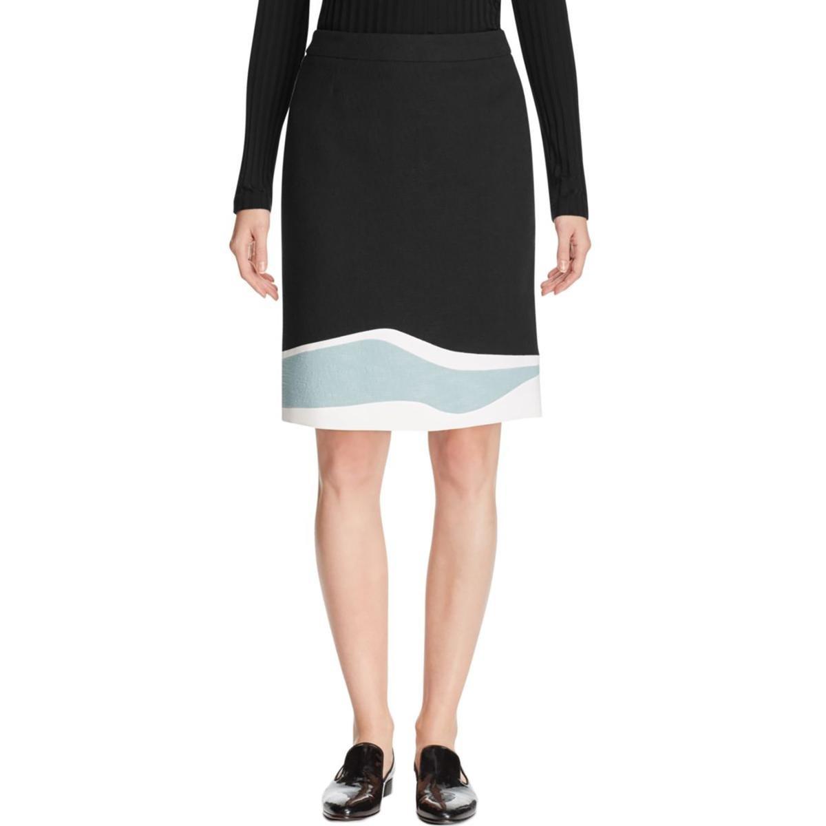 Hugo Boss Womens Vidina Textured Colorblock Straight Skirt Black 8