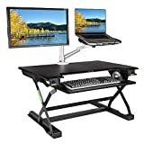 minicute Height Adjustable Standing Computer Desk Ergonomic Sit to Stand fits Dual Monitor Spring Riser 32'' Workstation Dual Monitor Desktop Lifter With Keyboard Tray For Office home- Black