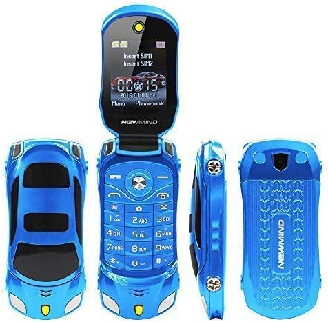 Amazon Com Sports Car Model F15 Mini Flip Phone Dual Sim Card Mp3 Backup Phone Blue
