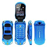 Sports Car Model F15 Mini Flip Phone Dual SIM Card MP3 Backup Phone (Blue)
