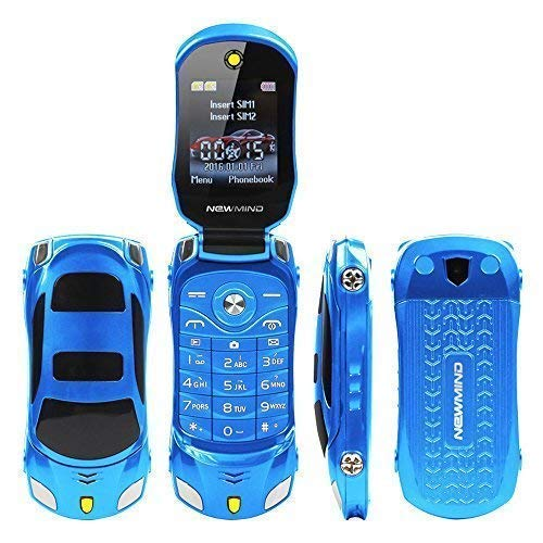 Phone Firefly For Cell Kids - Sports Car Model F15 Mini Flip Phone Dual SIM Card MP3 Backup Phone Best For Kids Students (Blue)