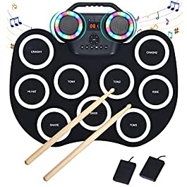 Costzon 9 Pads Electronic Drum Set with LED Light, Portable Roll up MIDI Drum Practice Pad w/Bluetooth, 7 Tones…