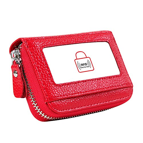 UPC 711176106433, Cynure Women's RFID blocking 12 Slots Card Holder leather Accordion Compact Wallet,red