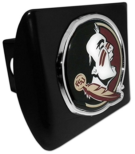 Florida State University METAL emblem (with colors) on black METAL Hitch Cover AMG