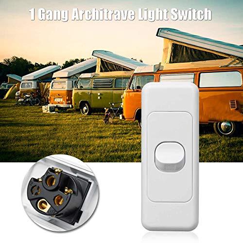 Bestchoice - 250V 10A 1Gang Architrave Light Switch Rocker Switch Wafer Series Double Poles Switch For Caravan RV Push Button Rocker Switch