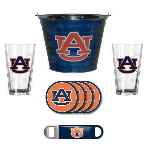 Auburn Tigers Ice Bucket (NCAA Auburn - Tonal Ice Pail, Pint Glasses (2), Coasters (4) & Bottle Opener Set | Auburn Tigers Beer Bucket Gift Set)