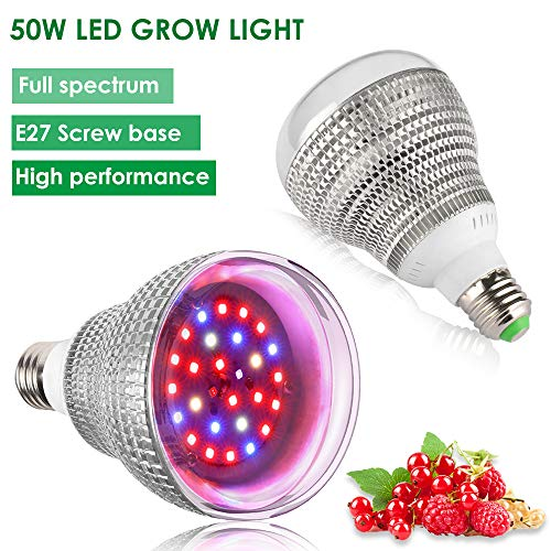 2PACK LVJING 50W Grow Light Bulb, Full Spectrum Grow Lights for Indoor Plants,