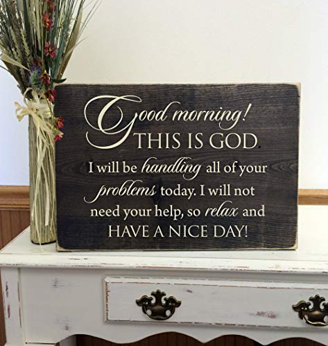Funlaugh Good Morning This is God Decorative Plaque Home Sign Wall Hanging Wooden Sign