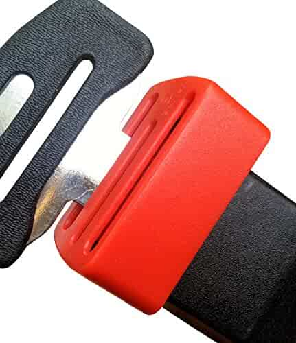 Ganen Car Belt Lock Buckle Guard Prevent Children And kids Opening The Seatbelt Securing the car seat Beltlock (Red)