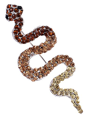 Alilang Womens Silver Tone Ombre Topaz Colored Rhinestone Slithering Jungle Snake Animal Brooch (Dark Smokey Eye Halloween)