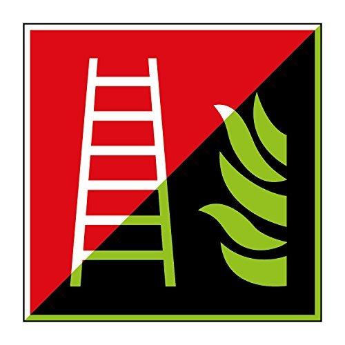 Feuerleiter Brandschutzzeichen 200x200mm - lang nachleuchtend – Aluminiumschild - gem. ASR 1.3, DIN ISO 7010 (F003) Canosign Werbetechnik