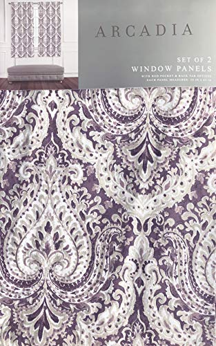 Arcadia Window Panels Draperies Rod Pocket Back Tab Curtains Set of 2 Elegant Damask Medallion Pattern in Shades of Purple Taupe Beige Cream - 50 Inches by 63 Inches