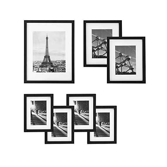 SONGMICS Picture Frames Set of 7 Pieces, One 11 x 14 Inches, Two 8 x 10 Inches, Four 6 x 8 Inches, with White Mat Real Glass, for Multiple Photos, Black Wood Grain URPF37BK - FRAME SIZES INCLUDED IN 7 SET: 1pc 11x14 frame with mat for 8x10 image display, 2pcs 8x10 frames with mat for 5x7 image display 4pcs 6x8 frames with mat for 4x6 image display PREMIUM MATERIAL: Picture frames are crafted of E1 grade fiberboard with thickened frame edge,  and durable for years to come. The glass front keeps your photos from dust and scratches; grinded edges protect your hands from injury when changing photos EASY TO USE: Rotatable metal plates at the back make it easy to open and change pictures; two hangers and a support for vertical or horizontal display, hang it on the wall or place it on a table - picture-frames, bedroom-decor, bedroom - 51LQunEPisL. SS570  -