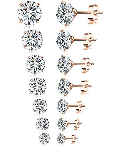 Tornito 7 Pairs 20G Stainless Steel Stud Earrings Round Cubic Zirconia Earring Set For Men Women 2MM-8MM (B1: 7 Pairs, Rose Gold) Cubic Zirconia Stainless Steel Earrings