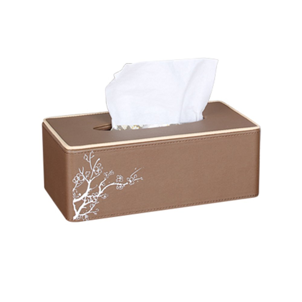 ZHILIAN® Retro Leather Tissue Box Continental Tissue Box Living Room Carriage Paper Box (Color : Beige) ZHILIAN SHANG MAO