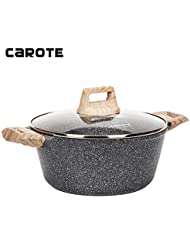 Carote 4.3 Quart Casserole Dish with Lid, Nonstick Cast Aluminum Dutch Oven, Stockpot with Glass Cover…