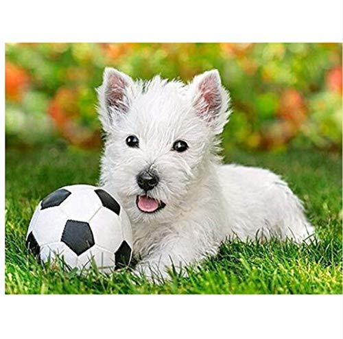 YueQiSong 5D DIY Diamond Painting Animals Cartoon Square/Round Drill Dogs Mosaic Diamond Embroidery Soccer Decoration Home Household 30X40Cm, Square Drill