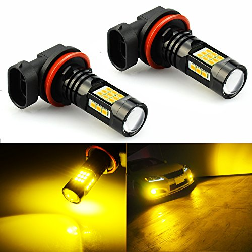 JDM ASTAR 2400 Lumens Extremely Bright PX Chips H11 H8 H16 LED Fog Light Bulbs for DRL or Fog Lights, Golden Yellow