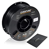 OVERTURE PLA Filament 1.75mm with 3D Build Surface 200mm × 200mm 3D Printer Consumables, 1kg Spool (2.2lbs), Dimensional Accuracy +/- 0.05 mm, Fit Most FDM Printer