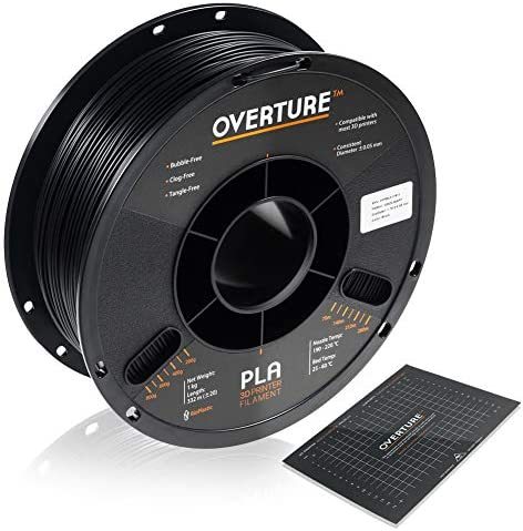 OVERTURE PLA Filament 1.75mm with 3-D Build Surface 200mm x 200mm 3-D Printer Consumables, 1kg Spool (2.2lbs), Dimensional Accuracy +/- 0.05 mm, Fit Most FDM Printer, Black