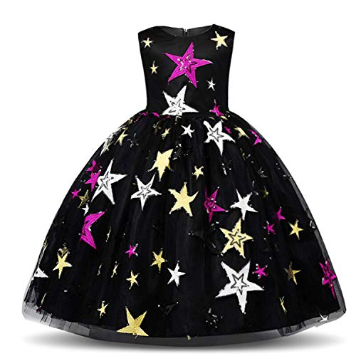NNJXD Girl Sequin Stars Princess Dress Birthday Formal Party Dresses Size (130) 5-6 Years Black