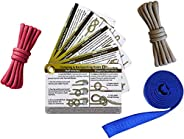 Outdoors Knot Tying Practice Kit - Waterproof Knot Cards, Webbing, and Color-Coded Cordage