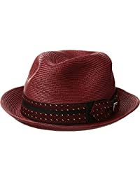 Mens Poly Braid Pinch Front Fedora With Fancy Bow Wine LG One Size