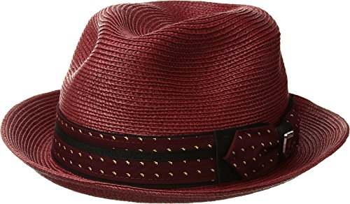 STACY ADAMS Mens Poly Braid Pinch Front Fedora with Fancy Bow Wine MD One - Pinch Fedora Front