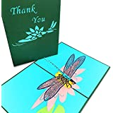 Pop Up Card Dragonfly- 3D Card, Thank You Card, Birthday Card, Anniversary, Father's Day & Mother's Day, Thanksgiving Card, Baby Shower Card, Christmas Cards, Spring Card –Pretty Greeting Card (15x20)