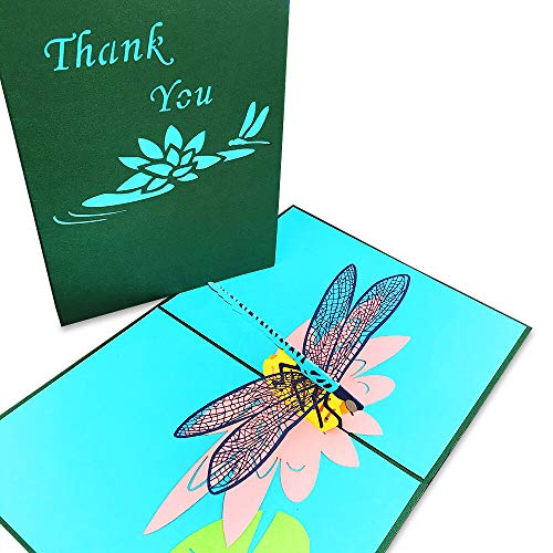 Pop Up Card Dragonfly- 3D Card, Thank You Card, Birthday Card, Anniversary, Father's Day & Mother's Day, Thanksgiving Card, Baby Shower Card, Christmas Cards, Spring Card –Pretty Greeting Card ()