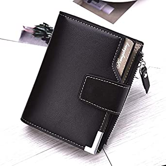 Short Wallet for Men PU Leather Small Purse Zipper Coin Pocket Foviza Casual Card Holder
