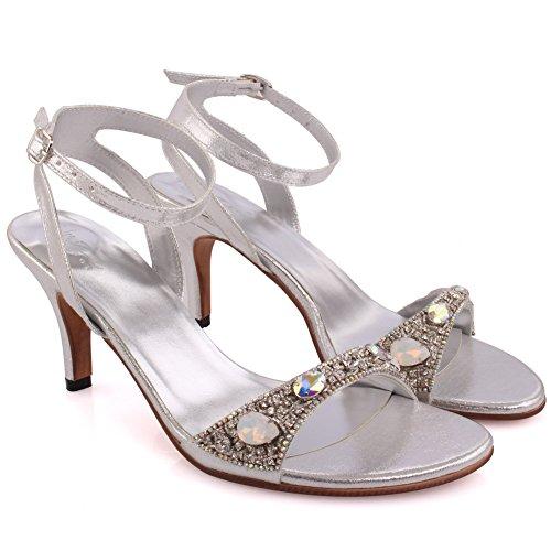 Unze Neue Frauen Damen prismatisch Sekt Knöchelriemen Steine Mid High Heel Abend Schlupf auf Party Schnalle Hochzeit Sandalen Schuhe UK Größe 3-8 - 2271 Silber