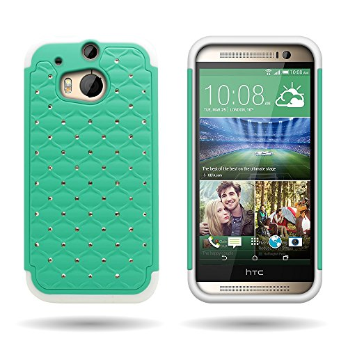 CoverON Hybrid Dual Layer Diamond Case for HTC One (M8) / M8 for Windows - Teal Hard Plastic with White Soft Silicone
