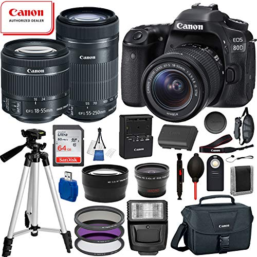 Canon EOS 80D Digital SLR Camera with EF-S 18-55mm is STM and EF-S 55-250mm is STM Lens (Black) 19PC Professional Bundle Package Deal –SanDisk 64gb SD Card + Canon Shoulder Bag + More