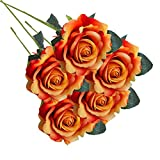 AIMTOPPY 5 Pcs Artificial Silk Fake Flowers Rose Flower Wedding Bouquet Party Home Decor (orange)