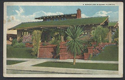 FLORIDA Lovely Bungalow Home Linen Vintage Postcard