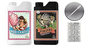 Advanced Nutrients Bud Candy and Piranha with Twin Canaries Conversion Chart and 3ml Pipette-4 Liter