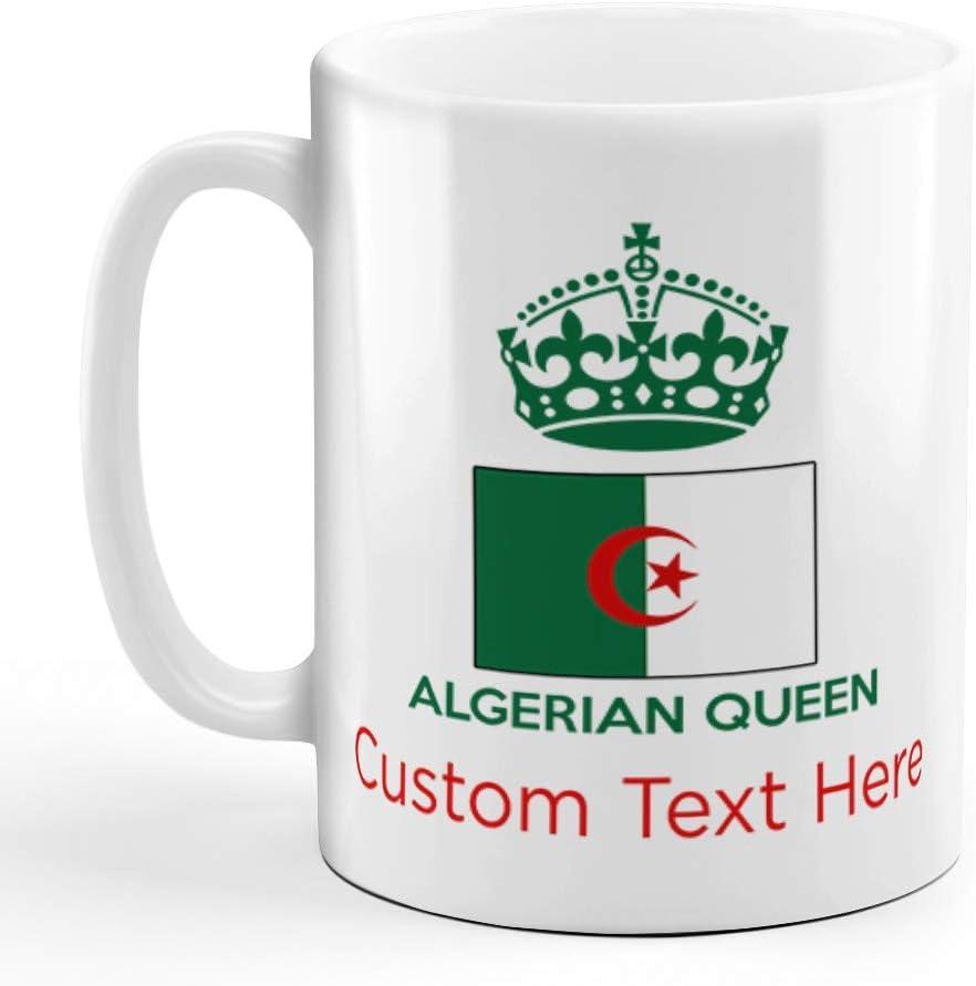 N\A Taza de café de cerámica Personalizada, 11 onzas, Taza de té Blanca de los países de la Corona de la Reina argelina, Texto Personalizado aquí