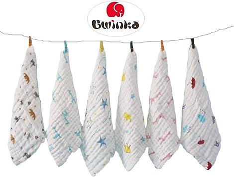 12x12 lingettes r/éutilisables b/éb/é Serviettes meilleurs pour les cadeaux de douche 6-pack bain mousselines b/éb/é d/ébarbouillette avec crochet