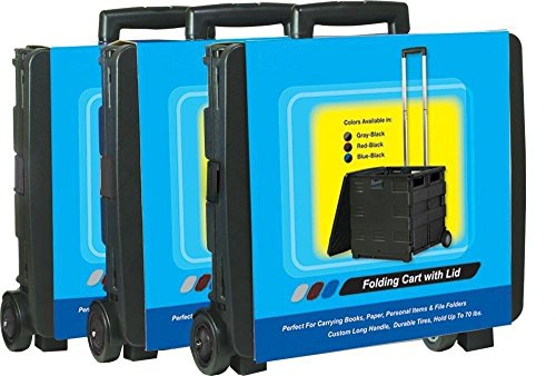 Royal Heavy Duty Mobile Folding Office Cart with Lid Basket - Collapsible, USA, Brand Unique Imports