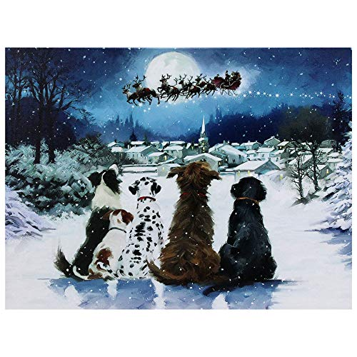 - Northlight LED Fiber Optic Lighted Dogs Watching Santa Claus Christmas Wall Art 12