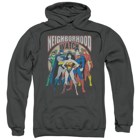 Trevco Jla-Neighborhood Watch Adult Pull-Over Hoodie44; Charcoal - 3X