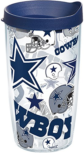 Tervis 1247894 NFL Dallas Cowboys All Over Tumbler with Wrap and Navy Lid 16oz, Clear