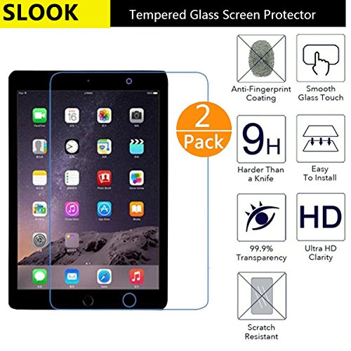 New iPad 9.7' (2017) / iPad Pro 9.7 / iPad Air 2 / iPad Air Glass Screen Protector,[2 Pack]Slook(0.3mm 9H 2.5D) Tempered Glass Screen Protector Shield For iPad 9.7-2 Pack